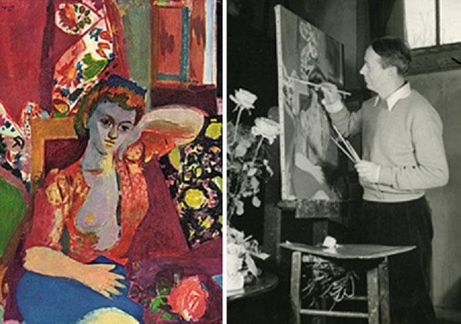 Raymond LEGUEULT dans son atelier, peignant LA JEUNE FILLE ROUSSE