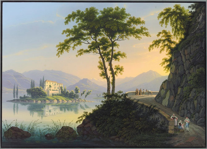 ISOLA MADRE en 1837. COLLECTION GUGELMAN.  Johann Heinrich Bleuler