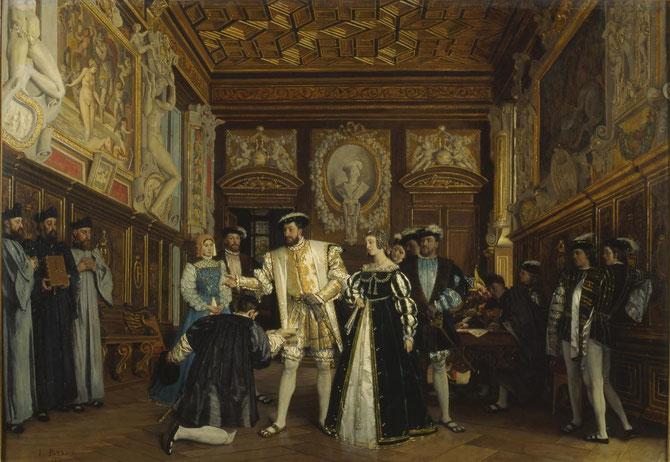 Tableau d' ISIDORE PATROIS ( peintre 1815 + 1884 ) . FRANCOIS 1er et son DECORATEUR LE ROSSO (1495 + 1540). Le Roi fait visiter sa galerie de Fontainebleau.