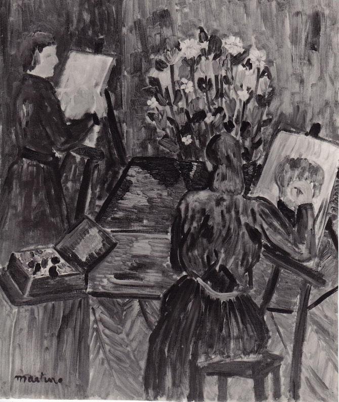""""""" LE BOUQUET """"  1955. Huile sur toile. Achetée par l'Etat. Exposition de groupe  1956 GALERIE ROMANET  ."""".LA FLEUR COUPEE Cent tableaux de fleurs de Van Gogh à Bernard Buffet """""""