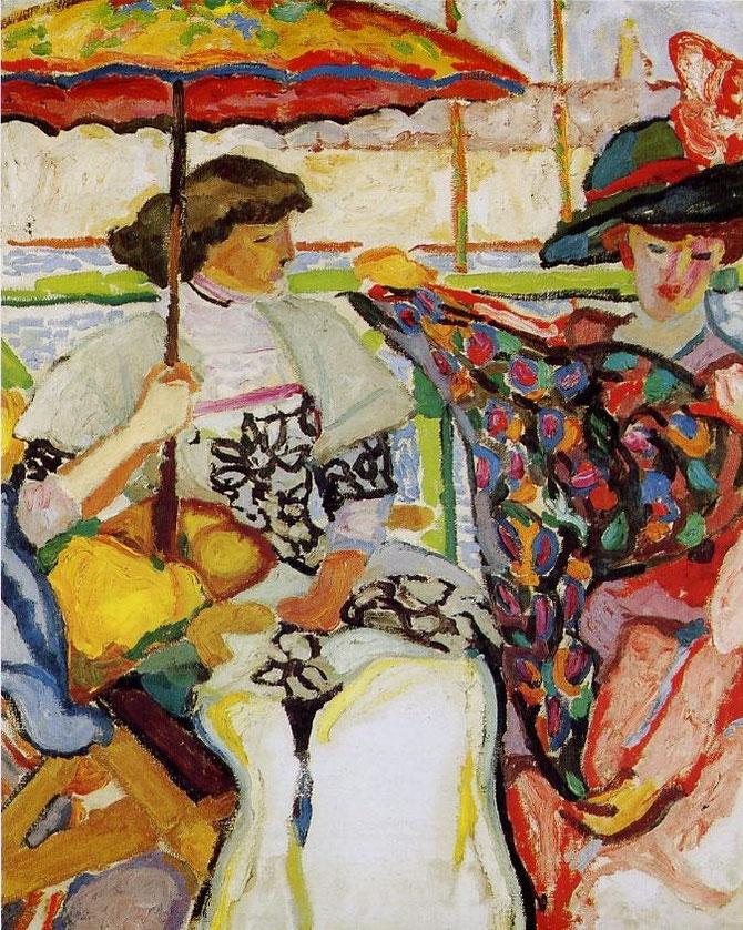 1910. MARTHE ET PAULINE à LA TERRASSE . HUILE SUR TOILE 91,5 X 73cm. MuMa  MUSEE D'ART MODERNE ANDRE MALRAUX. LE HAVRE. ¤ Florian KLEINEFENN.