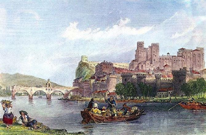 SCENES SUR LE RHÔNE DEVANT AVIGNON VERS 1830.