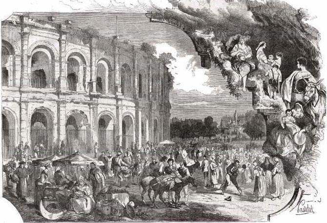 ARENES DE NÎMES. LA FOIRE AUX ÂNES . 1865 . GRAVURE PASTELOT. COLLECTION TAILLEFER