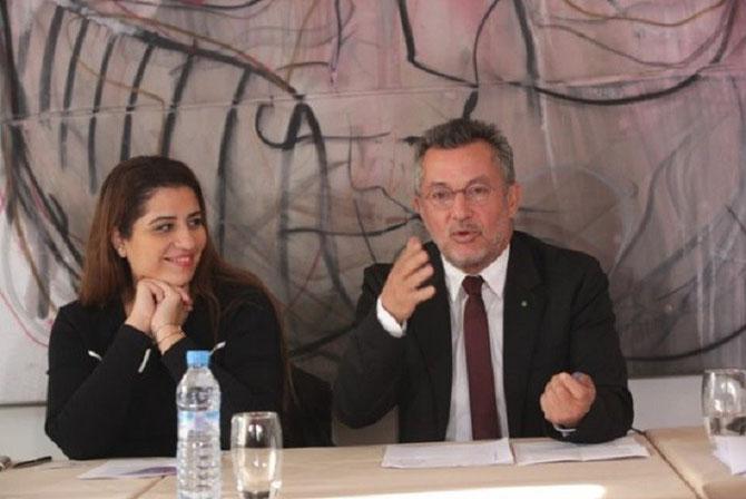 18 DEC. 2015. CASABLANCA. REEM FADDA et MOHAMED AMINE KABBAJ. CONFERENCE DE PRESSE au ROUGET DE L'ISLE; VILLA ELENE