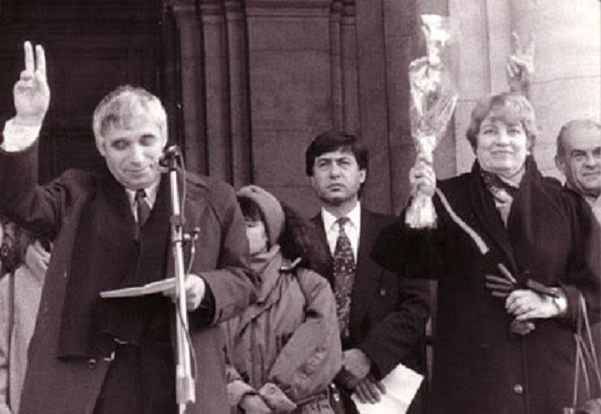 SOFIA. 19 JANVIER 1992. BLAGA ELUE VICE PRESIDENTE AVEC JELIOU JEVLEV  PREMIER PRESIDENT POST-COMMUNISTE DE LA REPUBLIQUE DE BULGARIE