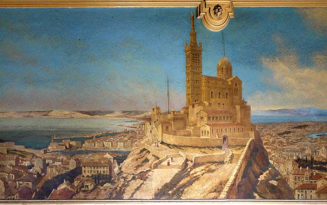 DETAIL D'UNE FRESQUE DE MARSEILLE au TRAIN BLEU, PARIS GARE DE LYON, par Jean Baptiste OLIVE (31 Juillet 1848 - 1936 Marseille)