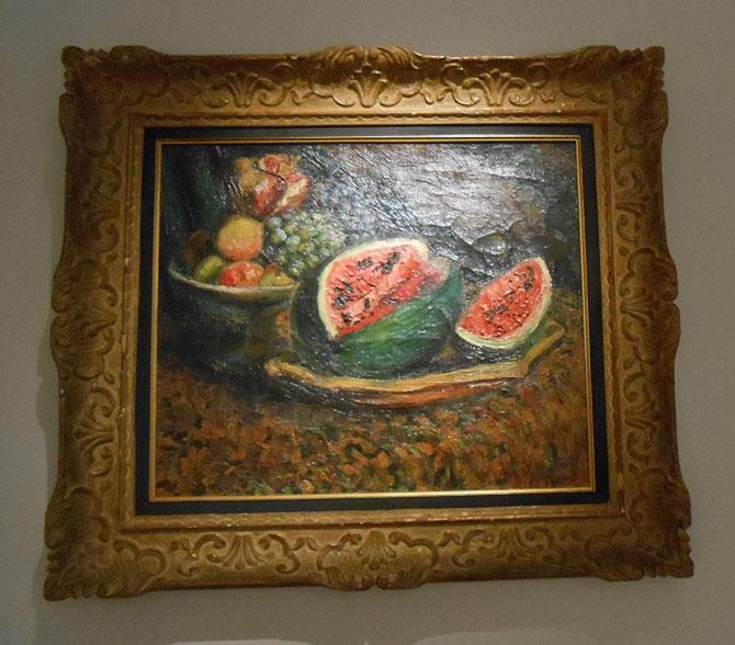 NATURE MORTE à LA PASTEQUE; vers 1922. Huile sur toile , signée en bas à droite.  46 X 55 cm