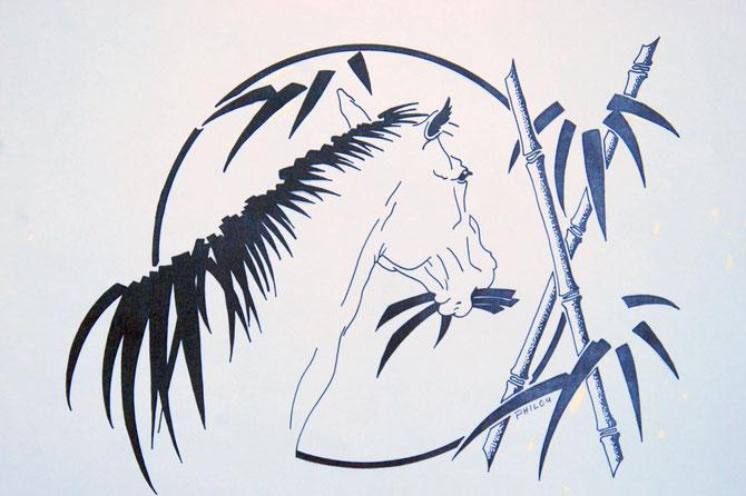 """DESSIN ANNEE DU CHEVAL 1978 POUR DECORER LE """"HONG KONG"""". PRESENTE EN 1982 AU CLUB MED DE POMPADOUR PRES DES HARAS NATIONAUX D'ARNAC POMPADOUR. DESSIN IMPRIME SUR T-SHIRT : SUCCES IMMEDIAT et GARANTI PENDANT DES ANNEES."""