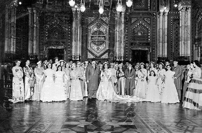 6 MAI 1951. MARIAGE FASTUEUX DU ROI FAROUK 1er AVEC NARRIMAN SADEK.