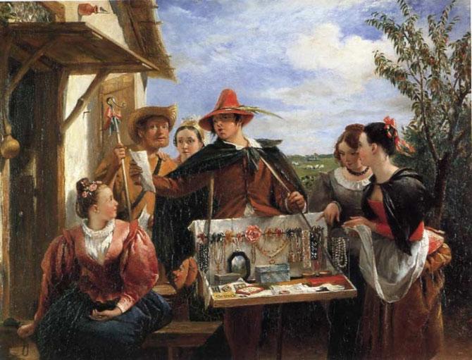"""""""LE COLPORTEUR DE BIJOUX"""". CHARLES ROBERT LESLIE (1794 + 1859)"""