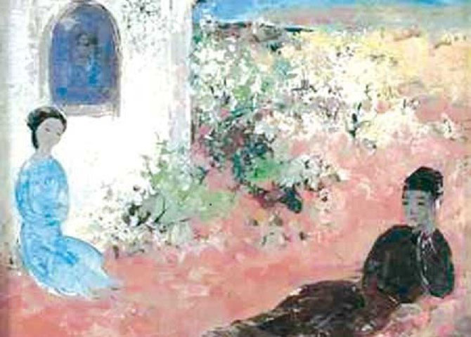 """1964. TWO LOVERS. D'APRES LE CELEBRE ROMAN """" TRUYÊN KIÊU"""" DU POETE NGUYÊN DU (1766-1820). UN AMOUR IMPOSSIBLE ENTRE THUY KIÊU ET KIM TRONG,"""