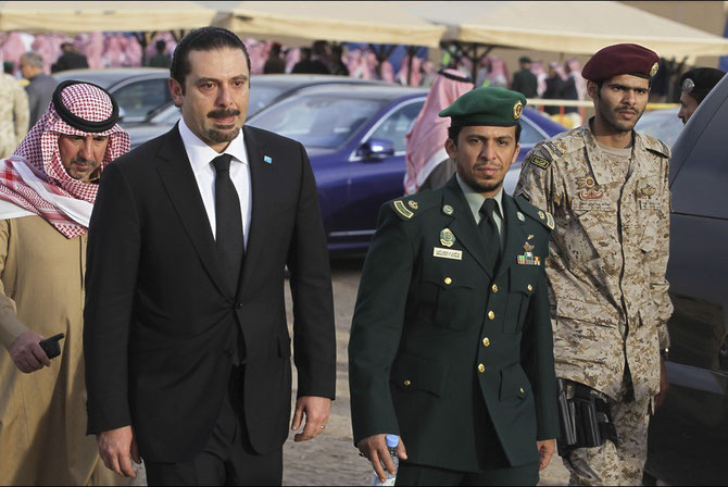 ARRIVEE DE L'ANCIEN PREMIER MINISTRE DU LIBAN SAAD HARIRI, LEADER SUNNITE LIBANAIS.