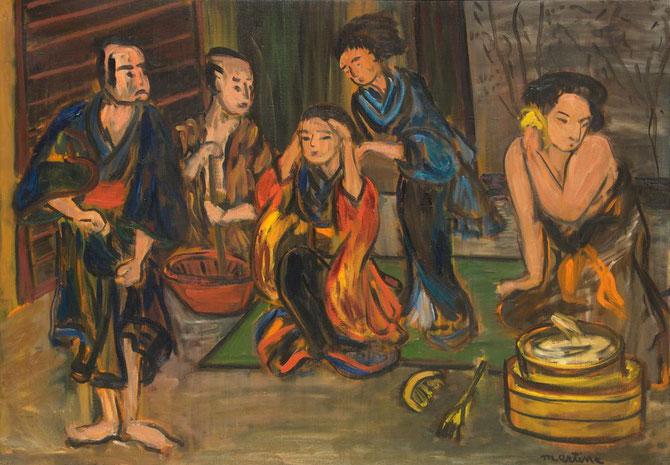 JAPONAISES . 1972. Huile sur toile . 65 X 92 cm