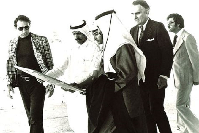 1980. S.A. L'EMIR RACHID AVEC KHALAF AHMAD AL HABTOOR