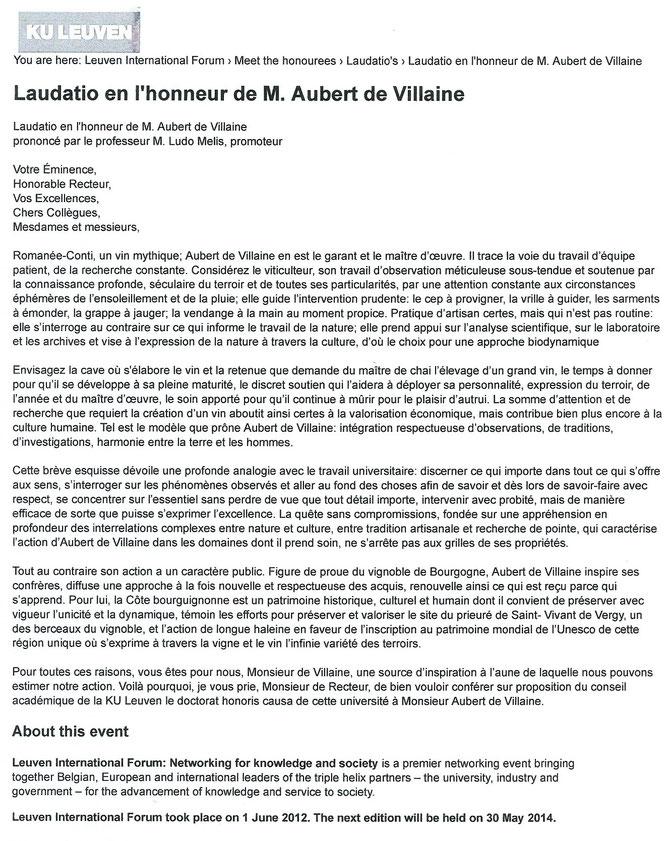 LE 1er JUIN 2012, AUBERT S'EST VU CONFERER LE DOCTORAT HONORIS CAUSA DE LA KU LEUVEN.
