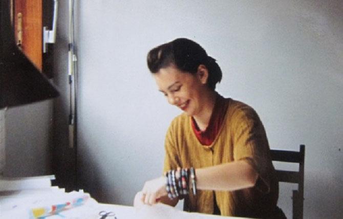 1988. Florence dans son bureau chez    Abcom design