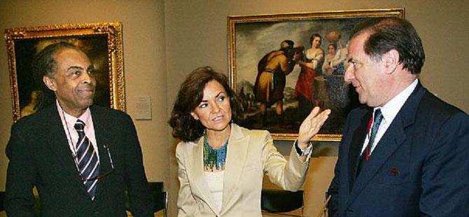 ESPAGNE. Avec Gilberto GIL Ministre de la Culture du Brésil et son homologue espagnol Carmen CALVO