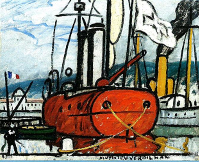 LE BATEAU ORANGE. Huile sur toile, signée en bas à dte, 73 X 90 cm