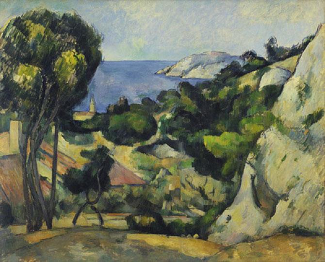 """Paul CEZANNE .  """"L'ESTAQUE"""".  Huile sur toile   . Collection Bill PALEY. léguée au MOMA"""