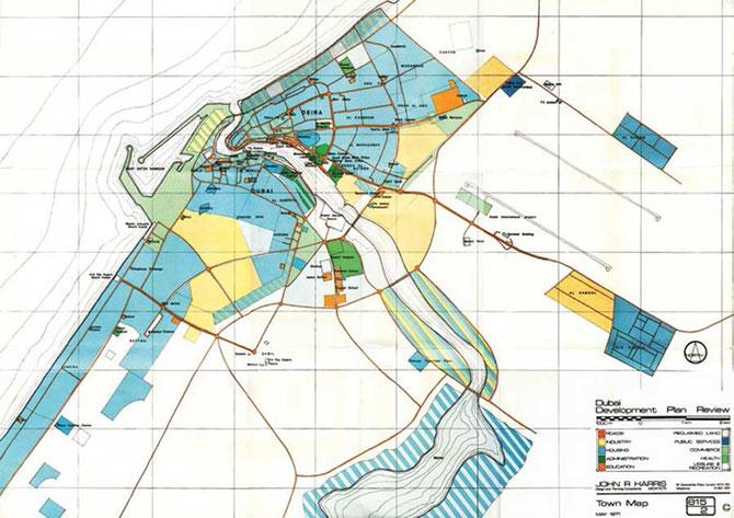 PLAN 1971 DE JOHN HARRIS  NON REALISE DANS SON ENSEMBLE : L'AXE SHEIKH ZAYED ROAD - ABU DHABI AYANT ETE CHOISI  POUR CONSTRUIRE LE WORLD TRADE CENTRE