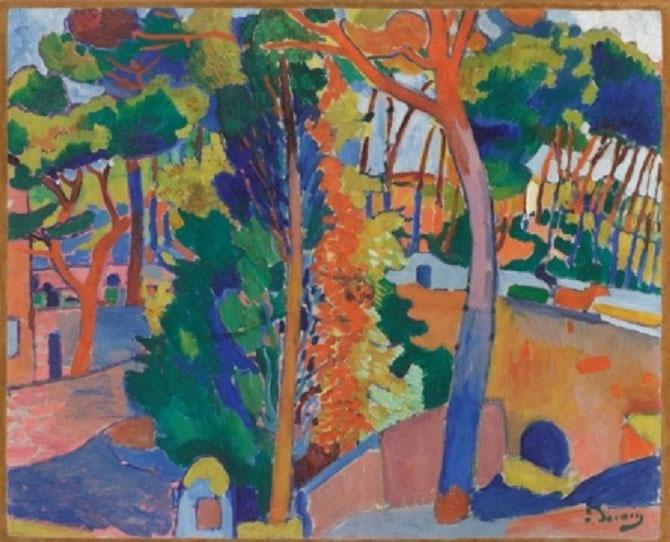 DERAIN (1880-1954). Rivière sur le Riou, 1906. HUILE: 82,6X101,6cm.