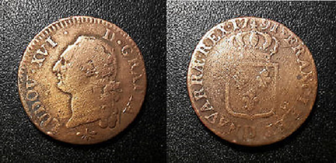 1791. LOUIS XVI  SOL à L'ECU .   DE LA VIE NOMADE DE COLPORTEUR ........