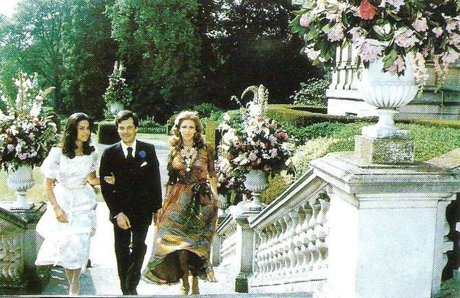 1974. FIANCAILLES DE DAVID à FERRIERES. De gauche à droite. OLYMPIA, DAVID, MARIE-HELENE. C'ETAIT UN DES PLUS BEAUX JOURS DE GUY ET  DE FERRIERES.