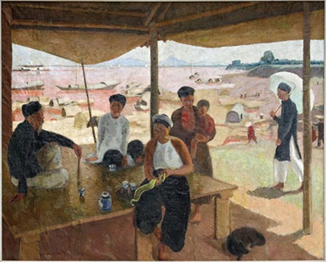 SCENE  DANS LE PORT DE HAIPHONG huile sur toile 239 X 293cm. Collection Musée des Beaux-Arts de Marseille. C* Aleksander Rabczuk.