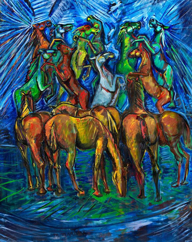 """"""" GRANDE DANSE DES CHEVAUX """" . 1997 . Huile sur toile  162 X 130 cm.  Signée en bas au milieu"""