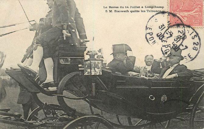 14 JUILLET 1906. SA MAJESTE  SISOWATH AUX COURSES à LONGCHAMP. LA FRANCE ETAIT FASCINEE PAR LE CAMBODGE, SON ROI et LES PRINCESSES-SES EPOUSES. LES ARTISTES COMME RODIN ET LES PEINTRES  ETAIENT  OBNUBILES PAR LES DANSEUSES DU CORPS DE BALLET ROYAL.
