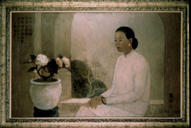 """TOILE EXPOSEE DU 20 MARS AU 27 MAI 1998 AU PAVILLON DES ARTS, 101 RUE RAMBUTEAU 75001 PARIS : """"PARIS-HANOI-SAIGON L'AVENTURE DE L'ART MODERNE AU VIETNAM""""."""