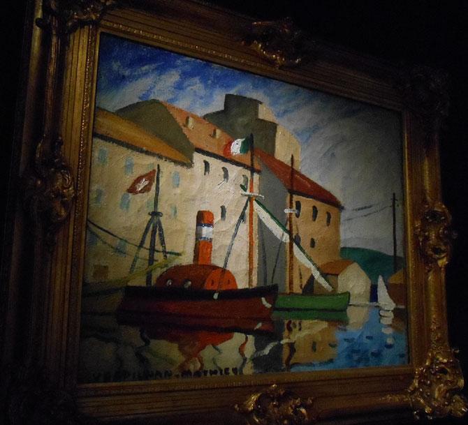 CABOTEURS AU PORT. Huile sur toile, signée en bas à gauche, 59 X 72,5 cm
