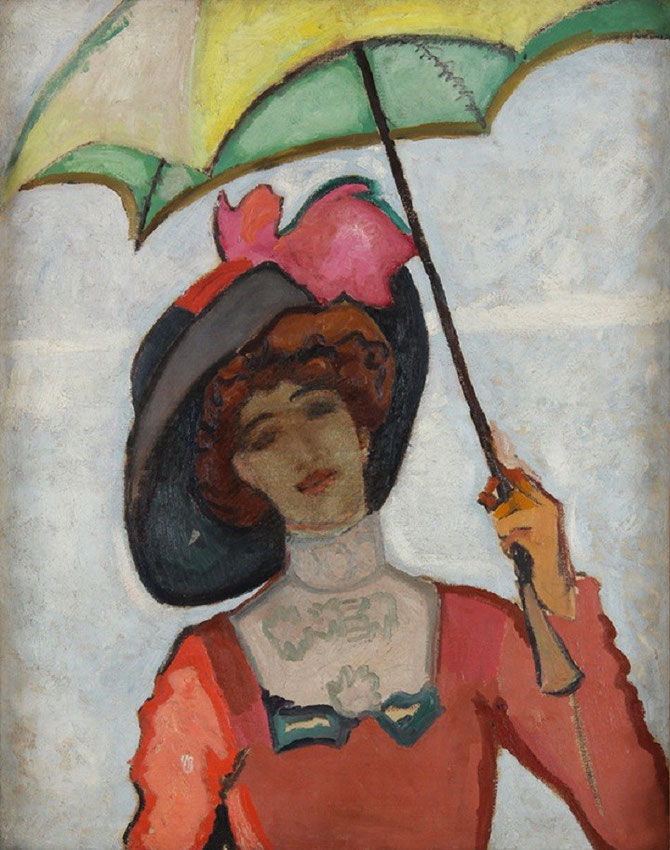 1909. PAULINE à L'OMBRELLE. HUILE SUR TOILE  94X73cm. MUSEE DE L'ANNONCIADE SAINT TROPEZ