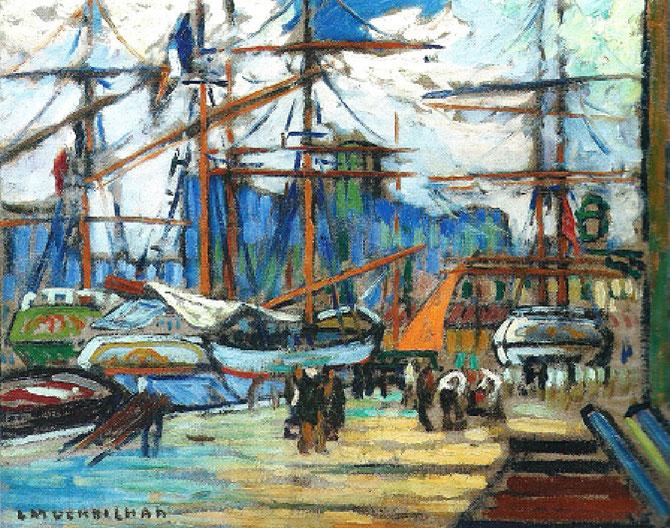 VOILE ORANGE DANS LE PORT DE MARSEILLE. Huile sur toile signée en bas à gauche , 60 X 73 cm. C* G. & A. PENTCHEFF