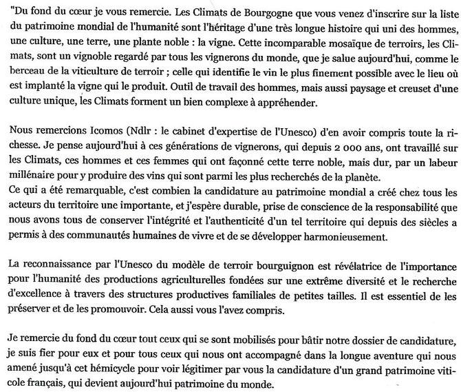 """REMERCIEMENTS D'AUBERT : """"LE BERCEAU DE LA VITICULTURE DE TERROIR"""" ENTRE AU PATRIMOINE DE L'HUMANITE."""