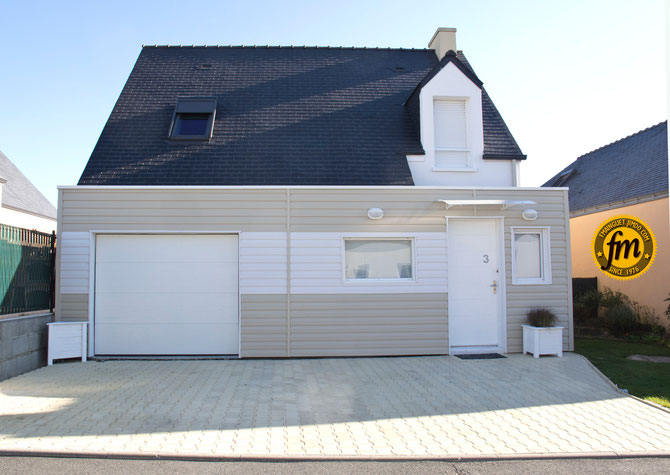 extension maison ossature bois et bardage vynile vox