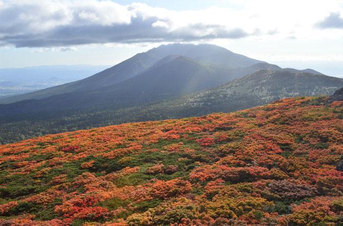 朝7時頃山頂到着。岩手山頂上は雲がかかっていましたが、時折雲の合間から指す光に紅葉が映えました!