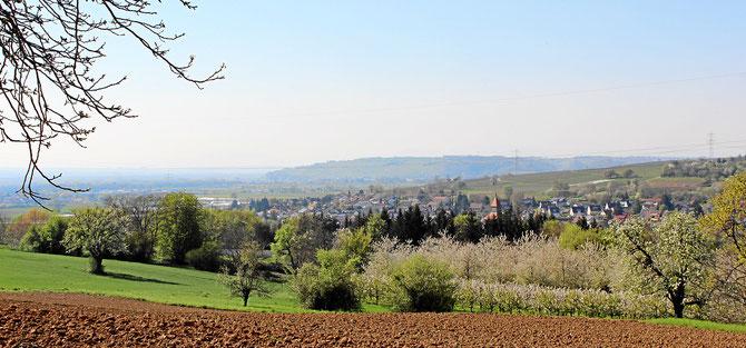 Das Dorf Binzen in der Rheinebene nahe französischer und schweizer Grenze