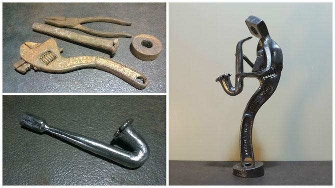 Une superbe clef à molette Buffalo NY USA + un vieux burin tordu et élimé pour le saxo