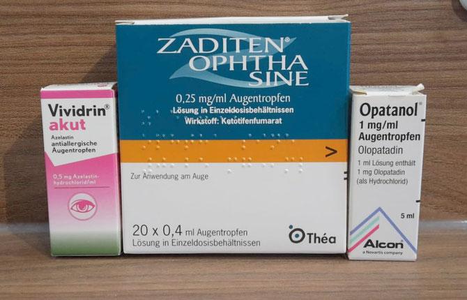 antiallergische Augentropfen: Vividrin akut, Opatanol und Zaditen Ophtha sine