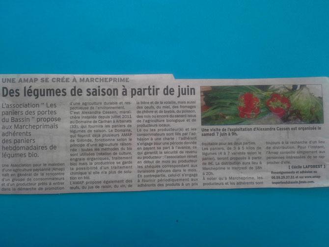 Les nouvelles fraîches de Marcheprime à lire dans l'hebdomadaire La Dépêche du Bassin paru le 22/05/2014