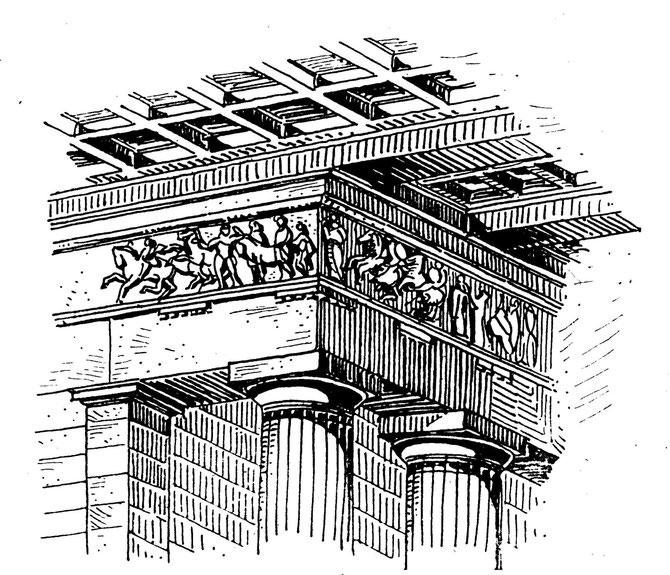 Ecke des Parthenon