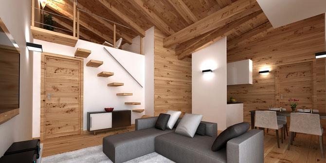 98 mq piano primo appartamento 4 in baita su richiesta for Interni di baite