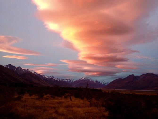 Und Mt Cook mit riesen Wolke!