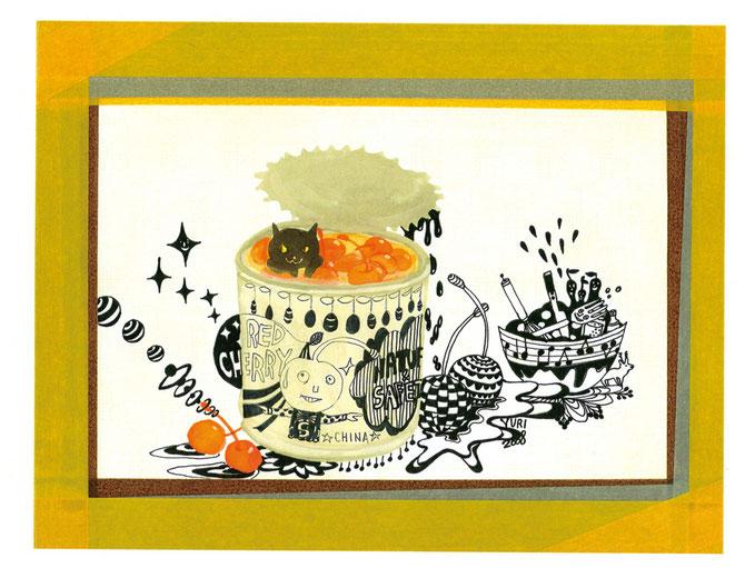 ↑「潜入調査」ペン、アクリル、水彩紙ハガキサイズ、マスキングテープon f0パネル2008年。缶詰+ねこモチーフに魅力を感じている時期。(今も)ペンと絵の具の混在が好きです。