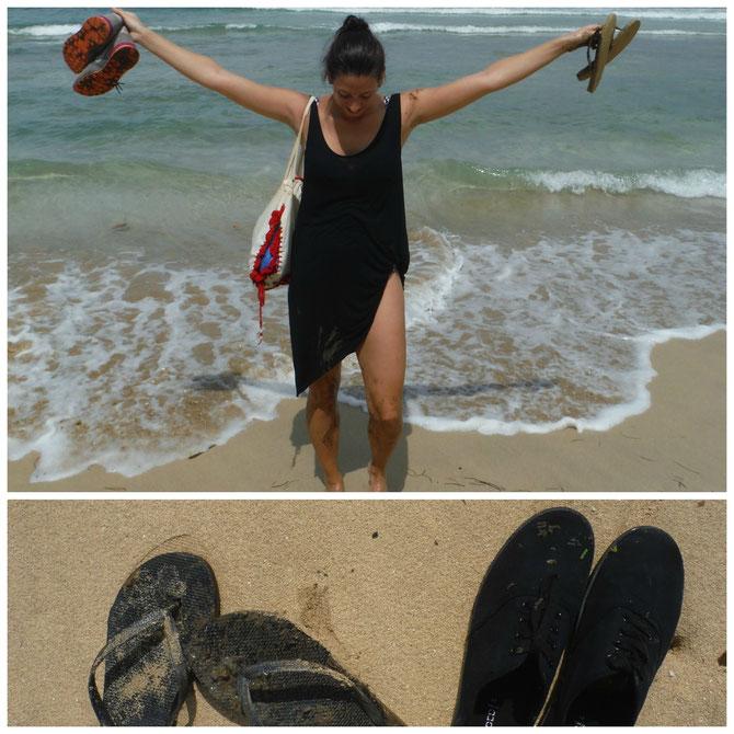 Fertig mit den Nerven, dreckig und k.o. am Wizard-Beach angekommen