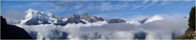 Weisshorn 4505m,Bruneghorn 3833m,Bishorn 4156m,Barrhörner 3610m