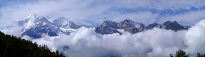 Weisshorn 4505m,Brunegghorn 3833m,Bishorn 4156m,Barrhörner 3610m