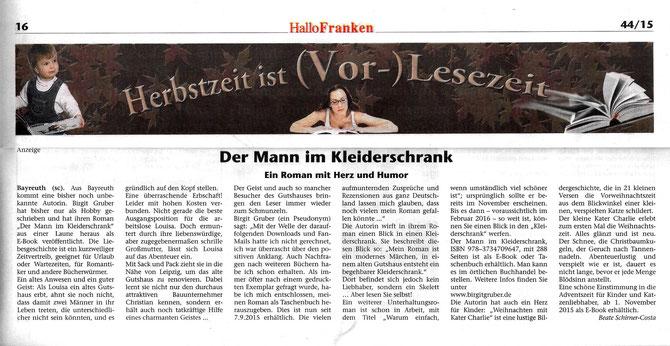 Artikel zum Lesen bitte anklicken - Hallo Franken Ausgabe 44/2015; 29.10.2015