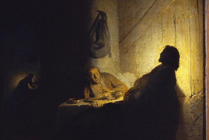 Jesús partiendo el pan en Emmaus, Rembrandt van Rijn